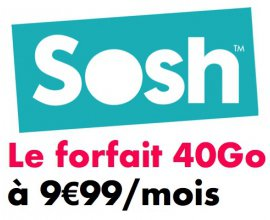 Sosh: Forfait mobile illimité + 40Go de data à 9,99€ / mois pour un an puis 24,99€