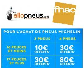 Allopneus: Jusqu'à 80€ offerts en carte cadeau Fnac pour l'achat de pneus auto Michelin