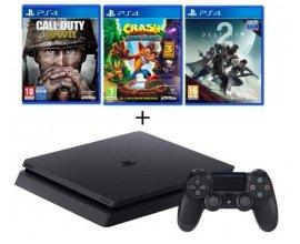 Cdiscount: PS4 Slim 500 Go + 3 Jeux : CoD WWII + Crash Bandicoot + Destiny 2 à 299,99€