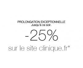 Clinique: 25 % de remise sur tout le site dès 15 € d'achats