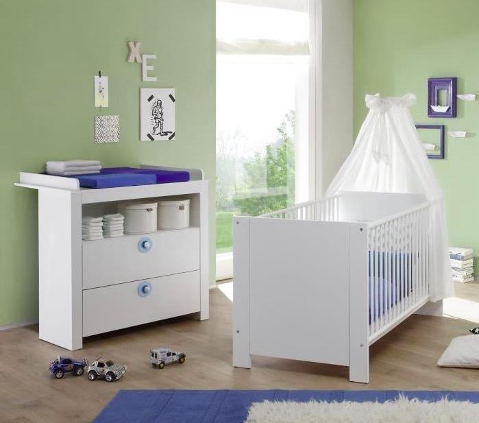 Lit Bebe Avec Plan A Langer : Ensemble lit bébé commode avec plan à langer bleu