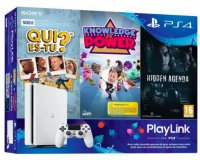 Micromania: PS4 500 Go Blanche + Qui Es-tu ? + Knowledge Is Power + Hidden Agenda à 249.99€