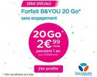 Bouygues Telecom: Forfait mobile B&YOU tout illimité + 20Go d'internet à 2,99€/mois pendant 1 an