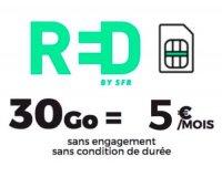 RED by SFR: Forfait mobile Appels, SMS & MMS illimité + 30Go d'Internet à 5€ par mois à vie et sans engagement
