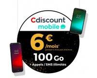 Cdiscount: Forfait mobile appels, SMS et MMS illimités + 100 Go d'Internet à 6€ / mois pendant 6 mois
