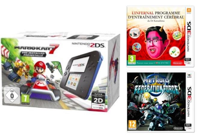 Code promo Fnac : Nintendo 2DS Mario Kart + Metroid + L'infernal programme d'entrainement cérébral à 89,99€