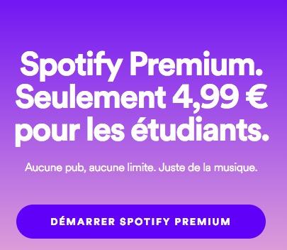 Code promo Spotify : Spotify Premium à -50% pour les étudiants
