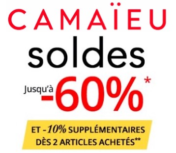 Code promo Camaïeu : [Soldes] Jusqu'à -60% sur une sélection de produits