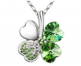 PriceMinister: -50% sur le pendentif Trèfle à 4 feuilles orné de Cristal Vert de Swarovski, Blue Pearls CRY A219 G