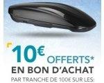 Norauto: 10€ offerts en avoir par tranche de 100€ sur les coffres et barres de toit, fixation et porte-skis