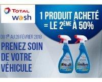 Total: 1 acheté = le 2ème à moitié prix sur la gamme de produit auto Total Wash