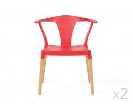 Delamaison: Lot de 2 chaises avec accoudoirs, piètement bois et assise polypropylène  à 189€ au lieu de  319€
