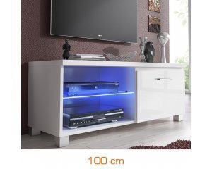meuble tv led 100 cm blanc 109 99 au lieu de 250 brico priv. Black Bedroom Furniture Sets. Home Design Ideas