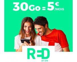 Showroomprive: Forfait Mobile RED by SFR Appels, SMS & MMS illimités + 30Go d'Internet à 5€ par mois à vie