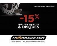 Motoblouz: 15% de réduction sur les disques et plaquettes de frein