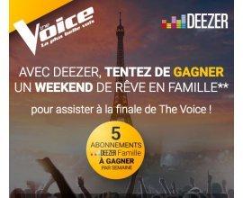 TF1: 1 Week-end pour assister à la finale de The Voice et des abonnements Deezer Famille à gagner