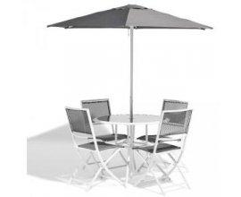Gifi: Salon de Jardin London en Métal - 4 Chaises + 1 Table en Verre + 1 Parasol à 99€ au lieu de 129€