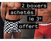 Undiz: 2 boxers Homme achetés = le 3ème offert