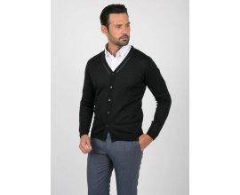 Father & Sons: Gilet cardigan noir détail en cuir au prix de 39,95€ au lieu de 79,90€
