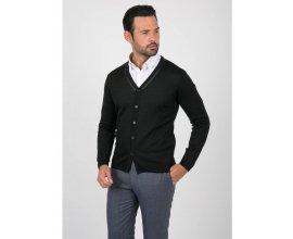 Father & Sons: Gilet cardigan noir détails en cuir à 39,95€ au lieu de 79,90€