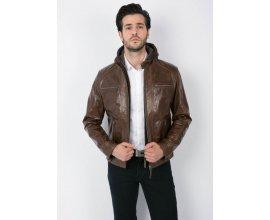 Father & Sons: Blouson cuir à capuche amovible homme marron glacé au prix de 209,30€ au lieu de 299€