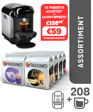 Code promo Tassimo : Lot 12 paquets Tassimo à 59€ au lieu de 138€