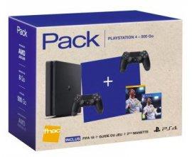 Fnac: PS4 Slim 500 Go Noir + 2e Manette Dual Shock 4 Noir V2 + FIFA 18 + Le Guide FIFA 18 à 299,99€