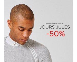 Jules: Jours Jules : jusqu'à - 50% sur une sélection d'articles. Ex : chemise en jeans à 15€ au lieu de 30€
