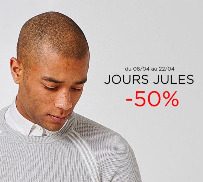 Code promo Jules : Jours Jules : jusqu'à - 50% sur une sélection d'articles. Ex : chemise en jeans à 15€ au lieu de 30€