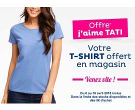 Tati: 1 t-shirt offert en magasin dès 5€ d'achat