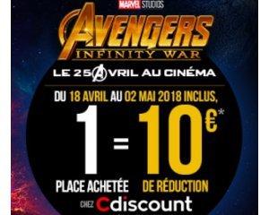 Cdiscount: -10€ sur Cdiscount pour toute réservation d'une place de cinéma pour le film AVENGERS : INFINTY WAR