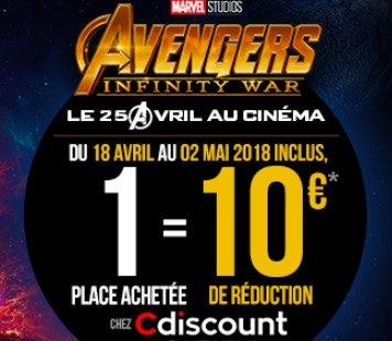 Code promo Cdiscount : -10€ sur Cdiscount pour toute réservation d'une place de cinéma pour le film AVENGERS : INFINTY WAR