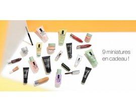 Clinique:  9 miniatures offertes sur la boutique en ligne CLINIQUE