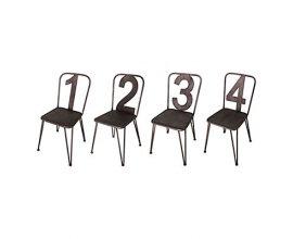 Vente Privée: Lot de 4 chaises numérotées - métal - 45 x 84 x 45 cm à 299,90€ au lieu de 594€