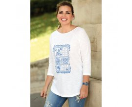 3 Suisses: Tee-shirt manches 3/4 imprimé bas arrondi femme - Blanc à 7,50€ au lieu de 14,99€