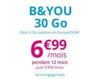 Showroomprive: Forfait mobile B&You appels, SMS et MMS illimités + 30Go (ont 3Go en Europe) à 6,99€ / mois