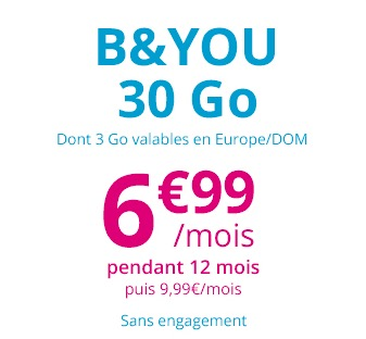 Code promo Showroomprive : Forfait mobile B&You appels, SMS et MMS illimités + 30Go (dont 3Go en Europe) à 6,99€ / mois