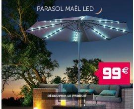 Gifi: Parasol lumineux avec 23 LED Mael 2,35 m à 99€ au lieu de 119€