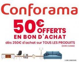 Conforama: 50€ offerts en bon d'achat dès 250€ d'achat sur tous les rayons (hors cuisine)