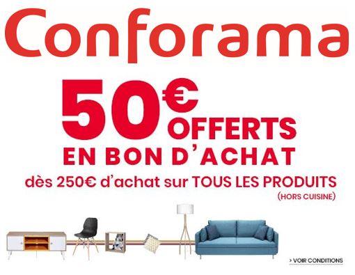 Code promo Conforama : 50€ offerts en bon d'achat dès 250€ d'achat