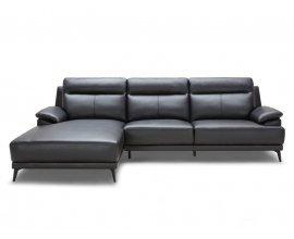 Delamaison: DAVIS - Canapé d'angle en cuir de vachette noir à 1439€ au lieu de 2399€
