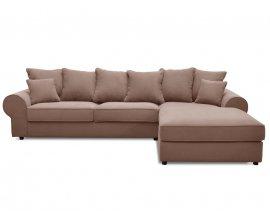 Delamaison: HALGEN - Canapé d'angle fixe en tissu et ses coussins décoratifs à 649€ au lieu de 999€