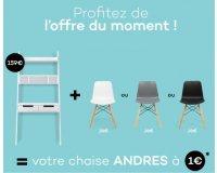 Delamaison: 1 chaise ANDRES noire, blanche ou grise à 1€ pour l'achat d'un bureau HENDES