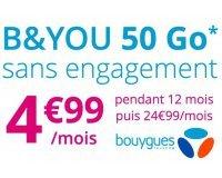 Bouygues Telecom: Forfait mobile  B&YOU tout illimité + 50Go d'Internet (dont 5Go en Europe) à 4,99€/mois