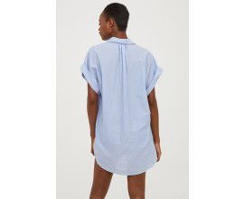 H&M: Tunique femme en coton à rayures bleu clair d'une valeur de 13,99€ au lieu de 24,99€