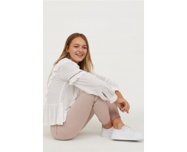 H&M: Pantalon en viscose tressée à taille élastique rose poudrée au prix de 9,99€ au lieu de 14,99€
