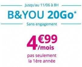 Bouygues Telecom: Forfait mobile B&YOU tout illimité + 20Go d'internet (dont 2Go en Europe) à 4,99€/mois à vie