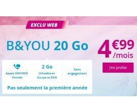 Bouygues Telecom: Offre spéciale B&YOU 20 Go à 4,99€