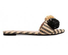 H&M: Sandales plates façon mules pompons sur le dessus rayés d'une valeur de 9,99€ au lieu de 19,99€