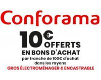 Conforama: 10€ offerts en bon d'achat par tranche de 100€ d'achat en gros électroménager et encastrable